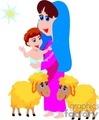 Cartoon maria and jesus with lambs