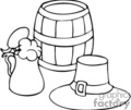 black and white keg of beer with leprechaun hat and stein of beer gif