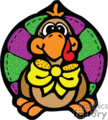 A Colorful Stiched Turkey with a Big Yellow Bow vector clip art image