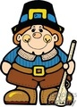 cartoon pilgrim man holding a rifle