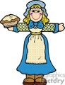 cartoon pilgrim women holding a pie