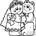 black and white bride and groom bears