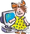 Cartoon girl in a yellow dress with an orange bow in her hair staning in front of a computer