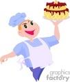Baker holding a cake