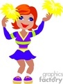 a red headed girl wearing a cheerleading uniform and pom poms dancing