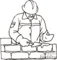 an outline of a construction worker placing bricks to make a wall