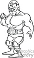 black and white cartoon wrestler