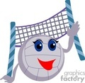 Cartoon volleyball and net