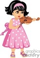 A Small Girl with a Pink Polka Dot Dress Playing a Violin