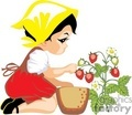 Little Girl Wearing a Yellow Handkerchief on her Head Picking Some Strawberries