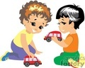 Two Small Boys Playing Cars Together