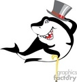 cartoon shark with a top hat and cane