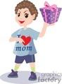 A boy wearing an I love mom shirt holding up a present