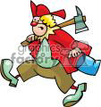 fireman circus clown with an ax