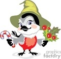 bird holding a candy cane and berries