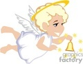 Flying Child Angel Ringing a Bell Surrounded by Stars