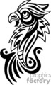 Black and white tribal bird with open beak