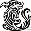 black and white art of tribal bird left-facing