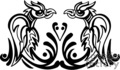 black and white art of two tribal pheonix birds seated face to face gif, png, jpg, eps
