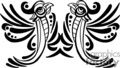 Black and white tribal art of two birds, mirror image