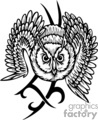 owl with a tribal design in the background