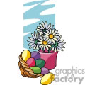 Colorful Eggs and Flowers in a Small Pink Cup