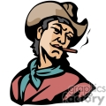 a cowboy wearing a brown leather hat blue bandana and a red shirt smoking gif, png, jpg, eps