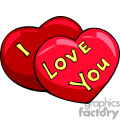 Red hearts with I love you on them