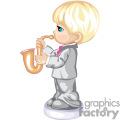 little boy in a grey suit playing the saxophone