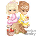 two little girls sitting on a tree stump holding an apple