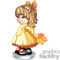 little girl in a burnt orange dress with a bow in her hair holding a fall leaf gif, png, jpg, eps