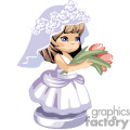 a little girl in a bridal dress holding a bunch of tulips gif, png, jpg, eps