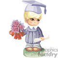 A Little Boy Holding a Scrolled Paper and a Bouquete of Flowers Wearing a Graduation Gown and Cap