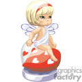 A Little Girl with a Red Head Band and White Wings Sitting on a Red Heart