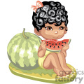 A Brown Eyed Little Girl Sitting Eating a Slice of Watermelon