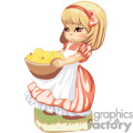 A girl in an orange dress with an orange ribbon in her hair carrying a bowl of apples