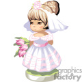 a girl in a pink and white frilly dress wearing a veil holding a bouquet of tulips