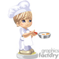 Little chef boy frying eggs