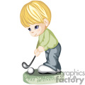 a blonde haired boy hitting a golf ball with a golf club
