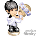 Little Boy dressed like a groom holding a little girl dressed like a bride