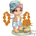 indian boy holding necklaces of flowers gif, png, jpg, eps