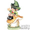 A little boy leprechaun sitting on a mushroom