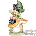 A little boy leprechaun sitting on a mushroom