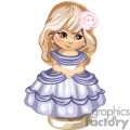 Little girl in blue party dress with folded hands