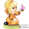 Blonde haired little girl in a orange dress holding a butterfly
