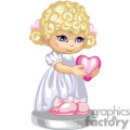 A girl in a white gown holding a pink heart