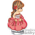 a girl in a red and white striped party dress with a flower in her hair
