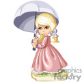 a little blonde girl holding a purple umbrella