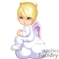 Little Child Angel in White Sitting on a Cloud
