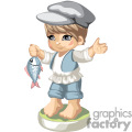 A little boy fisherman
